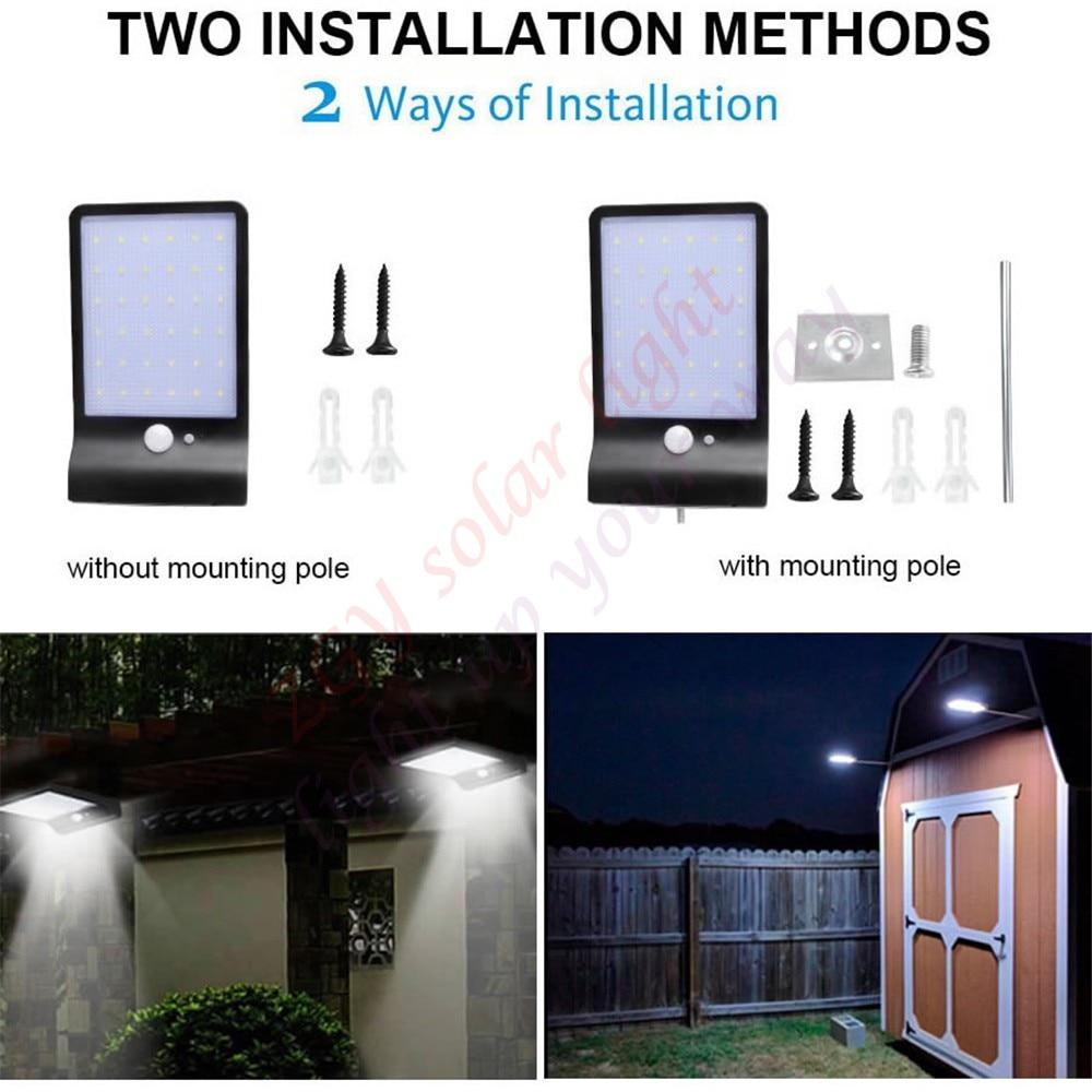 48 36 LED Solar Power Street Light PIR Motion Sensor Energy Saving Waterproof Outdoor Garden path Security wall lamp metal pole in Solar Lamps from Lights Lighting
