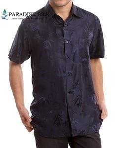 Image 4 - Camisa de manga curta para homens, camisa de bambu jacquard charmeuse, camisas de negócios de seda pura, manga curta, tamanho g, gg, ggg, ggg, 100%