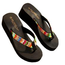 2017 New Fashion Summer Platform Sandals Beach Flat Wedge Patch Flip Flops Lady Slippers D28Ma10
