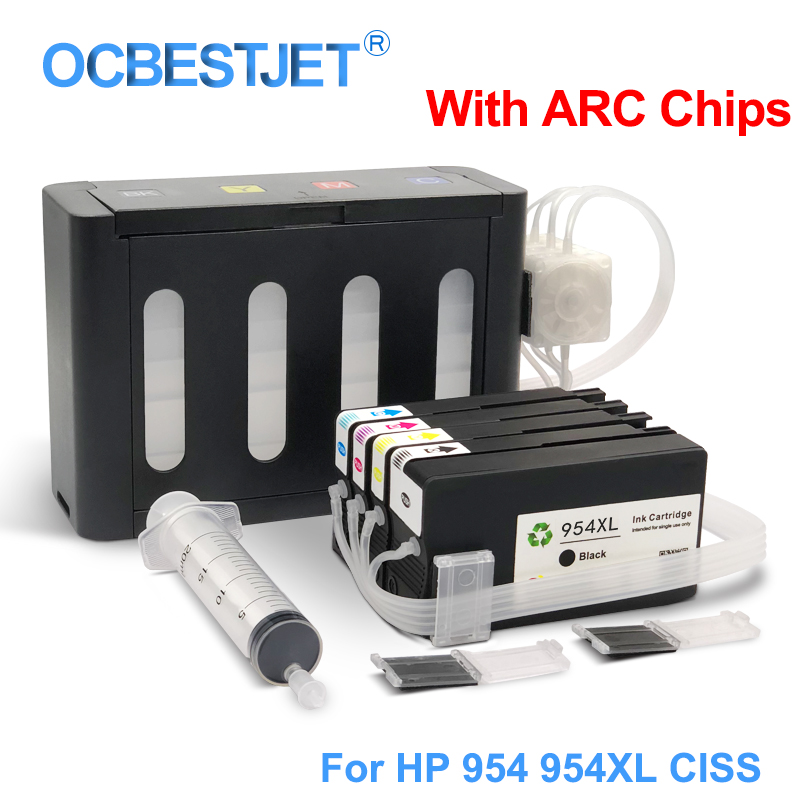 4Colors/Set For HP 954XL 954 XL CISS Continuous Ink Supply System For HP Officejet Pro 7740 8210 8710 8715 8720 8725 8730 8740