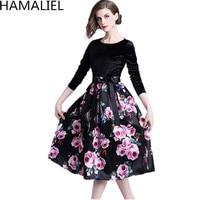 HAMALIEL Vestidos Women Party Ball Gown Dress Autumn Velvet Patchwork Printed Flower Bow Casual Slim O Neck Long Sleeve Dresses
