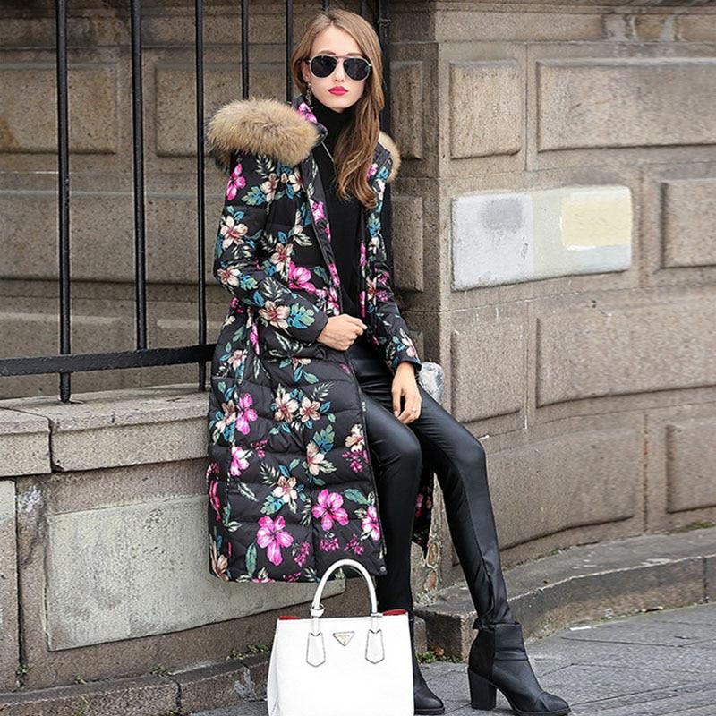 ФОТО Winter Jacket Women 2016 Womens Down Jackets With Large Natural Raccoon Fur Collar Down Parka Print Flower Slim Waist Coats