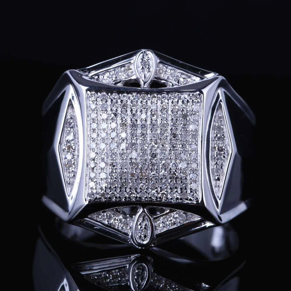 HELON men's ювелирные изделия из стерлингового серебра 925 100% настоящий бриллиант, Современная усадьба, великолепное свадебное кольцо, проложить
