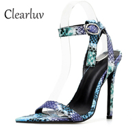 Europe America high quality snake pattern transparent sexy high heel hollow sandals fashion fine with color open toe shoes C0993
