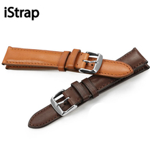 iStrap 18mm 19mm 20mm 21mm 22mm Black Brown Coffee Watch band France calf Leather WatchBand Watch Strap For Tissot Seiko IWC