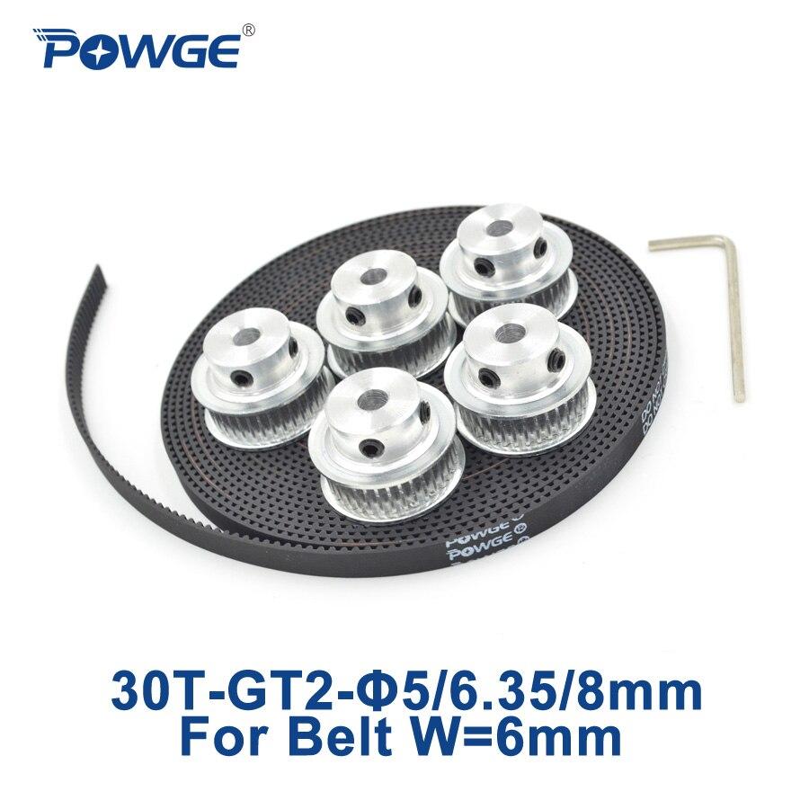 POWGE 5pcs 30 teeth GT2 Timing Pulley Bore 5mm 6.35mm 8mm + 5Meters width 6mm GT2 Synchronous Belt used linear drive 30Teeth 30T powge 8pcs 20 teeth gt2 timing pulley bore 5mm 6mm 6 35mm 8mm 5meters width 6mm gt2 synchronous 2gt belt 2gt 20teeth 20t