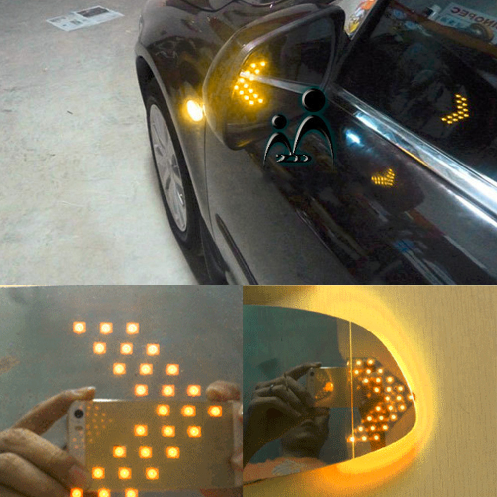 1x hot selling Universal Car Vehicle Arrow LED Lights Indicator 14 LED 3528SMD Car Rearview Side Mirror Turn Signal Light