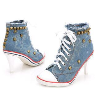 Pumps Women Shoe 2019 Sexy Personality Winter Shoes Lace-up High-top Lace Thin Heels High-heeled Cowboy Canvas Rivets Plus-size