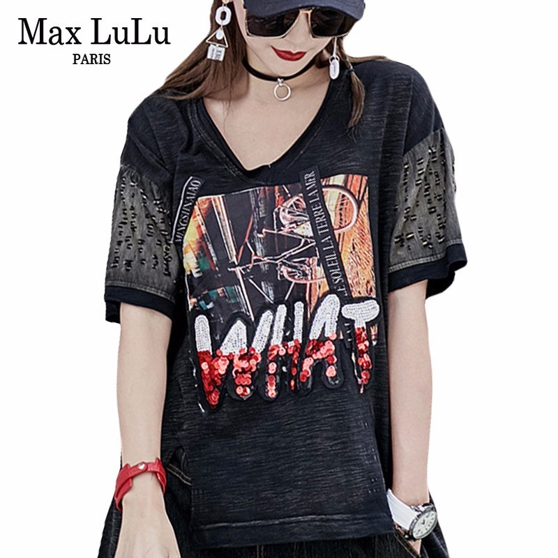 Max LuLu 2018 Summer Famous Brand Designer Girls Punk Jeans Tops Tees Women Diamond Denim T Shirts V Neck Funny Female 3d Tshirt