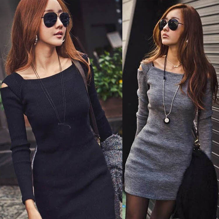New Hot Casual Fashion Women Sexy Off Shoulder Crew Neck Long Sleeve Slim Knitwear Sweater Dress