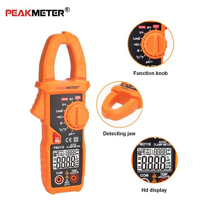 Peakmeter pm2118 휴대용 스마트 ac/dc 클램프 미터 ncv가있는 멀티 미터 전류 전압 저항 연속성 측정 테스터