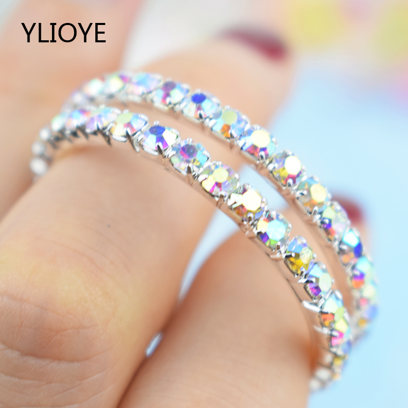 YLIOYE 2020 Big Circle Hoop Earrings Crystal Rhinestone 100% Silver Plated Earrings For Women Fashion Jewelry Wedding Party Gift