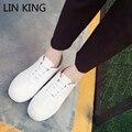 LIN REY Nuevas Mujeres de la Llegada Zapatos Planos de Punta Redonda Suela Gruesa Low Top Zapatos Para Caminar Solid Lace Up Masaje Verano Zapatos Al Aire Libre