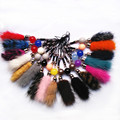 Fashion 17 Color Mink Fur Tail Design Car Keyring Fur Keychain Mobile Phone Accessor Fur Brand Bag Charms Keychain Fur Key rings