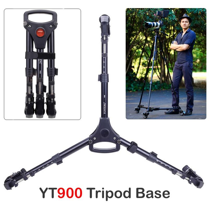 Yunteng 900 Professional Photo Aluminum 3 Wheels Pulley Universal Foldable DSLR Camera Tripod Dolly Base Stand Max. Load 15KG