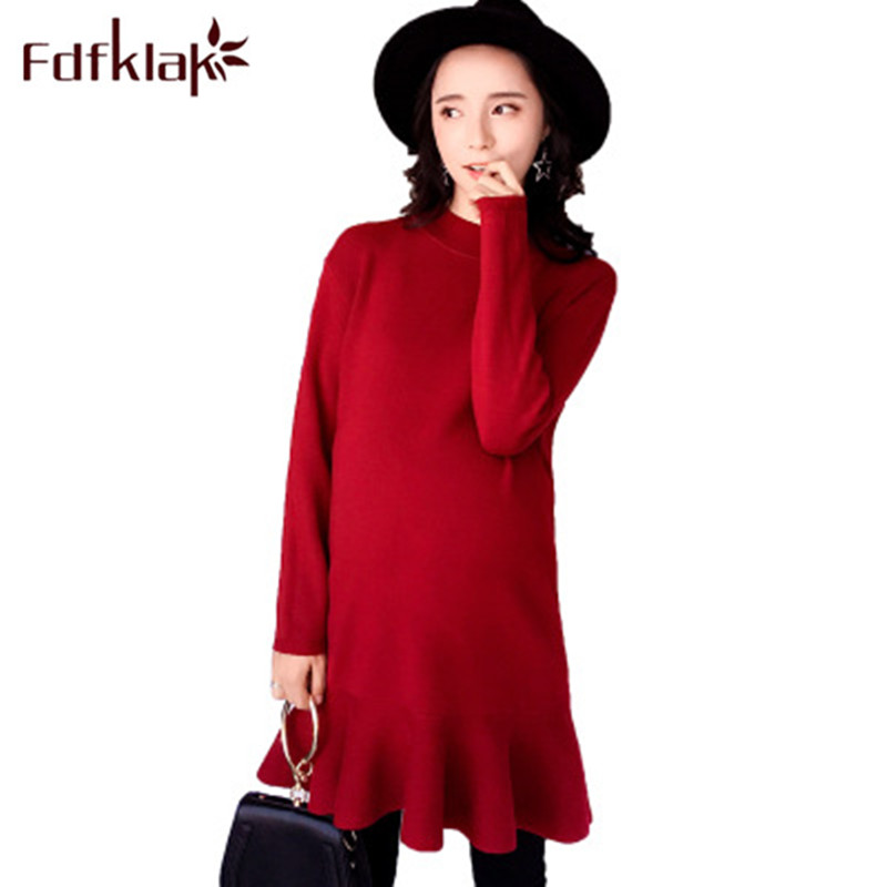 Fdfklak Maternity Gown Autumn Winter New Dress Maternity Pregnant Dress Knitted Pullover Sweater Dress Pregnant Women Gown F23