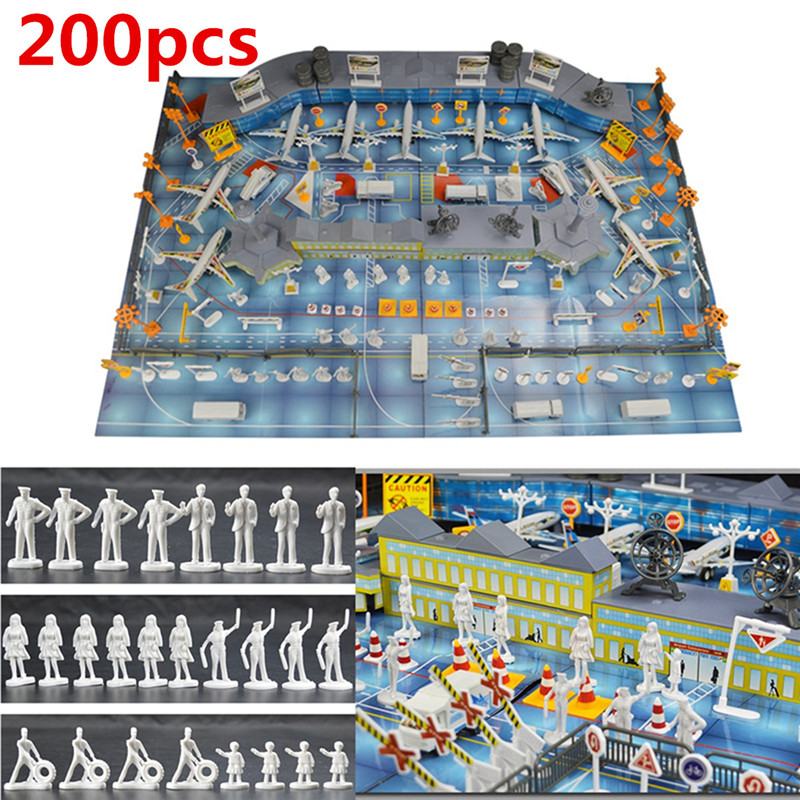 200 pcs Airport Playset Airplane Aircraft Models Static Scene Model Toys Figure Simulation Airport Property Waiting Hall Bus airport