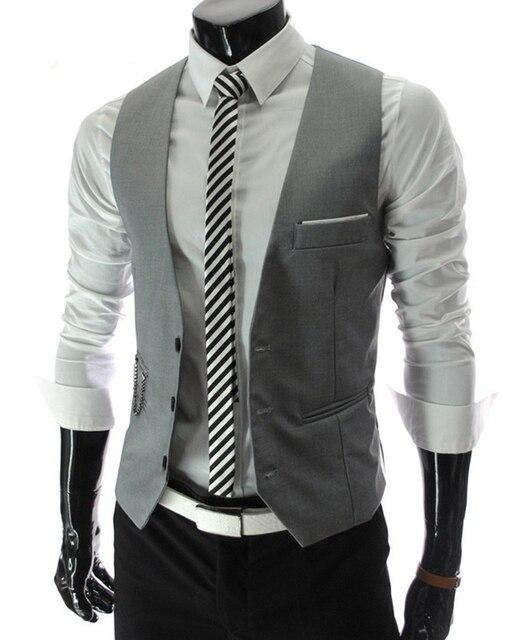 2016 Autumn Men's Slim Fit Suit Vest Waistcoats Men Gilet  Fashion New Style Puls Size 5XL
