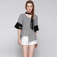 Plus size XL-4XL loose V collar flare sleeve irregular hem stripes patchwork blouse shirt women original design fashion shirt