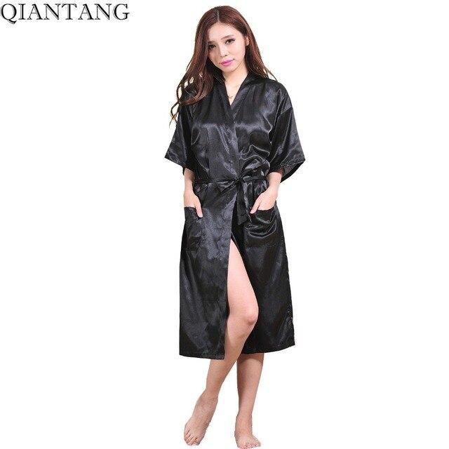 7bbb478ce0 BLACK Womens Robe Hot Sale Faux Silk Kimono Bath Gown Female Sexy Bathrobe  Nightgown Mujer Pijama Size S M L XL XXL XXXL Zh02A