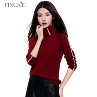 Outono Inverno blusas de Gola Alta Qualidade Tira Design de Malhas De Lã da Caxemira das Mulheres Camisola Puxa Femme Tops Camisa