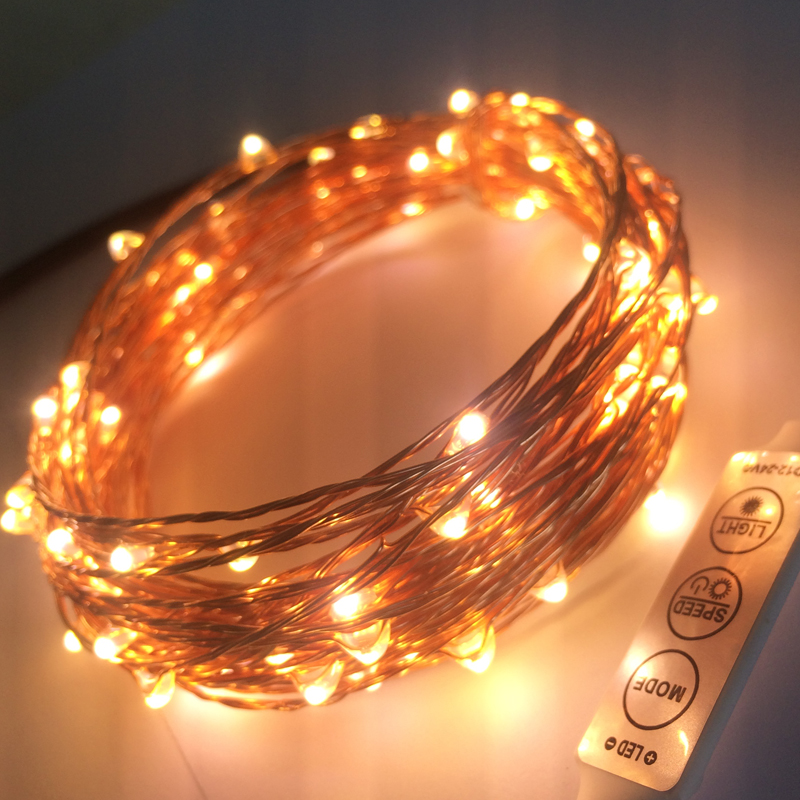 Remote Dimmer 20M 200 Leds Copper Wire LED String Light With Power Adapter DC 6V 1A String Light ...