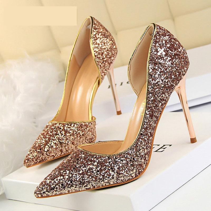 BIGTREE Ladies Shoes Stiletto Sliver Women Pumps Kitten-Heels Gold Sexy White New Wedding