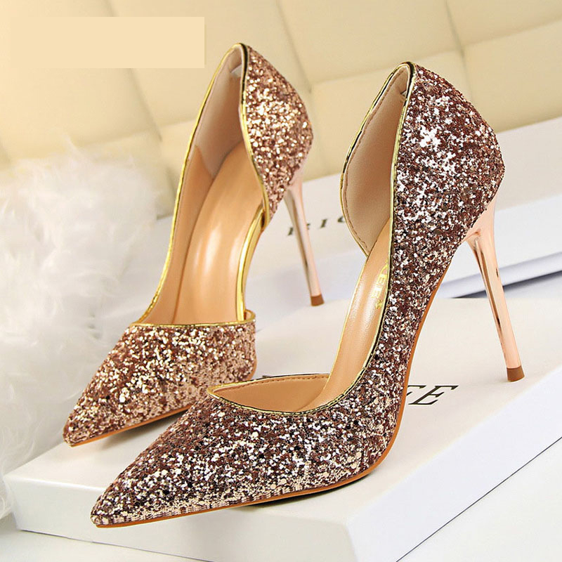 BIGTREE Ladies Shoes Stiletto Sliver Women Pumps Kitten-Heels Gold Sexy White New Wedding title=