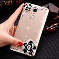 """Para lenovo k6 nota 5.5 """"rosa preto branco camellia flor de diamante limpar disco pc capa case para lenovo k6 5.0"""" Casos de telefone móvel"""