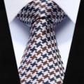 "Party Wedding Tie TZC10Z6 Brown Blue Check Slim Narrow 2.6"" 100% Natural Silk Men Tie Necktie"
