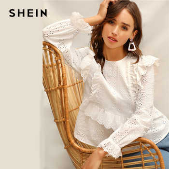 SHEIN White Ruffle Trim Embroidered Eyelet Top Flounce Sleeve Lace Blouse Women Spring Solid Scallop Front Boho Elegant Blouses - DISCOUNT ITEM  45 OFF Women\'s Clothing