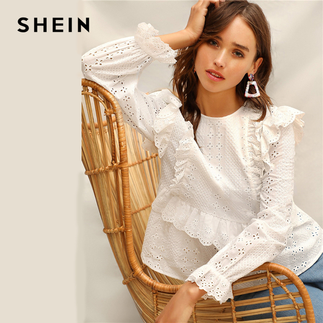 c30e5e1163 SHEIN White Ruffle Trim Embroidered Eyelet Top Flounce Sleeve Lace Blouse  Women Spring Solid Scallop Front