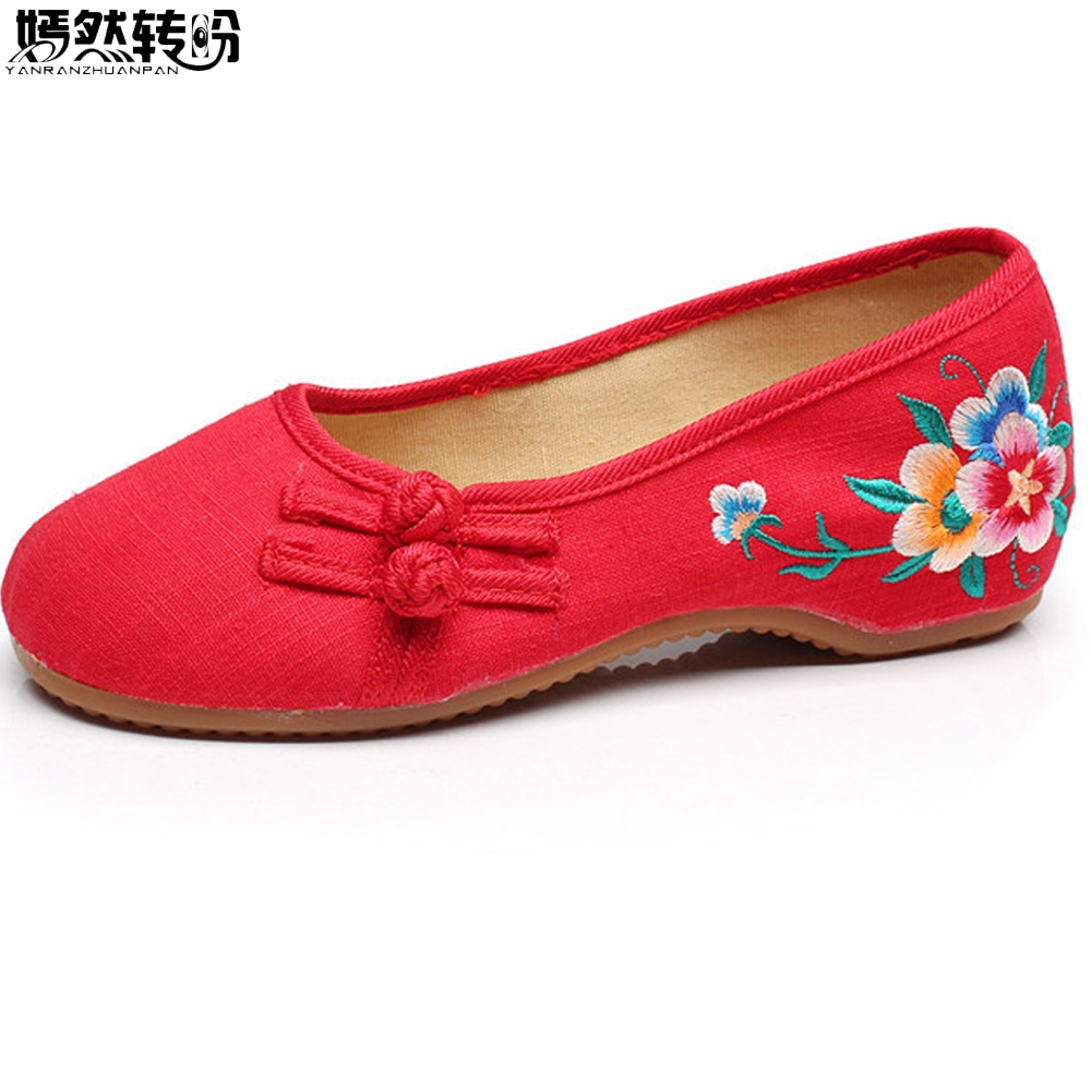 Chinese Women Flats Shoes Slip On Cotton Floral Embroidery Comfortable Old Peking Ballerina Ballet Shoes Woman Sapato Feminino summer women flats shoes old peking goldfish embroidery loafers slip on casual national dance ballet shoes woman zapatos mujer