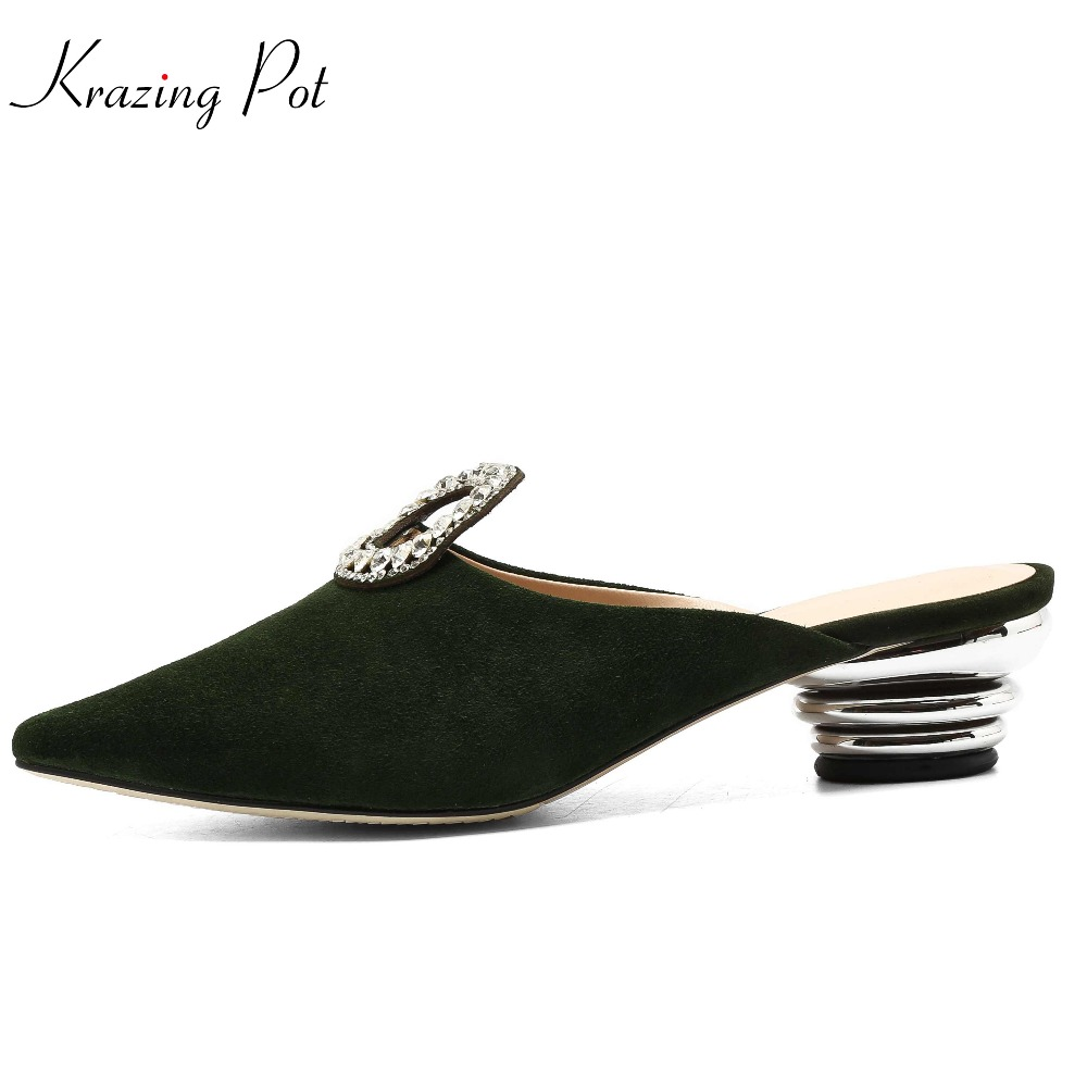 Krazing pot 2018 big size women office lady slip on sheep suede pointed toe preppy style crystal med heels fairy mules pumps L31 krazing pot shoes women fashion sheep suede bowtie pointed toe preppy style stiletto high heels pumps slip on fairy mules l05