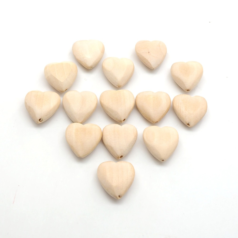 Купить с кэшбэком Chenkai 50PCS Unfinished Natural Wood Heart-shaped Wooden Spacer Beads For DIY Baby Teether Nacklace or bracelet Accessories