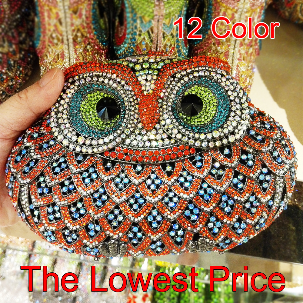 Classic Animal Owl Crystal Evening Bag Ladies Luxury Diamond Clutch Purse Wedding Bridal Handbag Party Prom Banquet Bag 88181