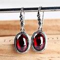 indian jewelry red garnet zircon ball drop earrings bohemian style silver 925 ruby-jewelry for women allied express