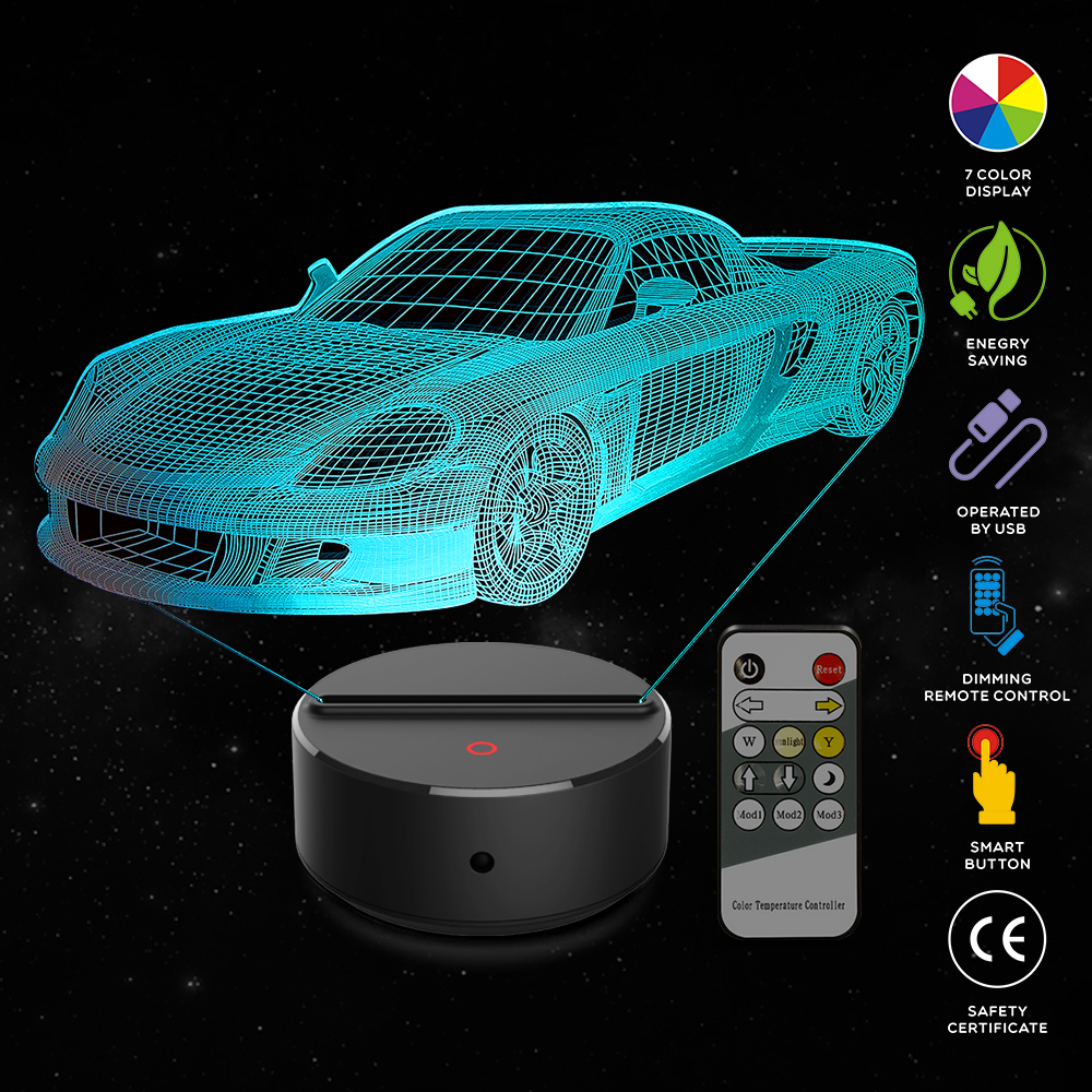 New Sports car 3D LED Night Lamp 7 Colors USB Hologram Decor Lamp Table Desk Lights Birthday Party Gift For Children Friends