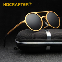 HDCRAFTER Round Sunglasses Women Men Golden Polarized UV400 Driving Sun Glasses Male Goggle Eyewear 2018 oculos de sol