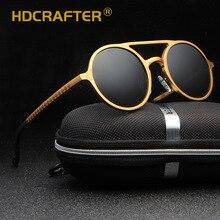 Hdcrafter 라운드 선글라스 여성 남성 골든 편광 uv400 태양 안경 운전 남성 고글 안경 2018 oculos de sol