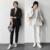 Trajes Pantalón de rayas de Las Mujeres Formal Oficina de Negocios Uniforme Nuevo 2016 Blanco Mujeres Elegantes Trajes de Chaqueta Con Pantalones de Trabajo para Damas