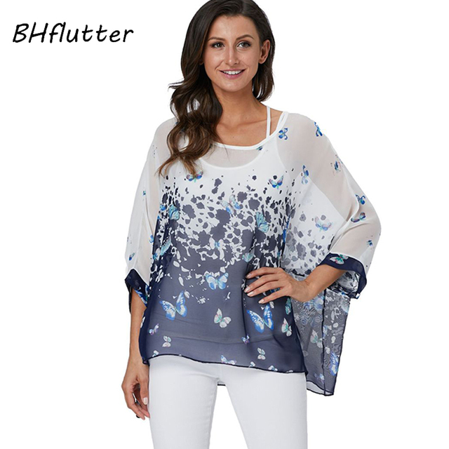 BHflutter 4XL 5XL 6XL Plus Size Blouse Shirt Women New Striped Print Summer Tops Tees Batwing Sleeve Casual Chiffon Blouses 2019 5