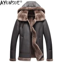 AYUNSUE из натуральной кожи куртка Для мужчин зимние австралийские натуральный мех из натуральной овечьей кожи пальто для Для мужчин мех ягненка полета Для мужчин Куртки KJ853