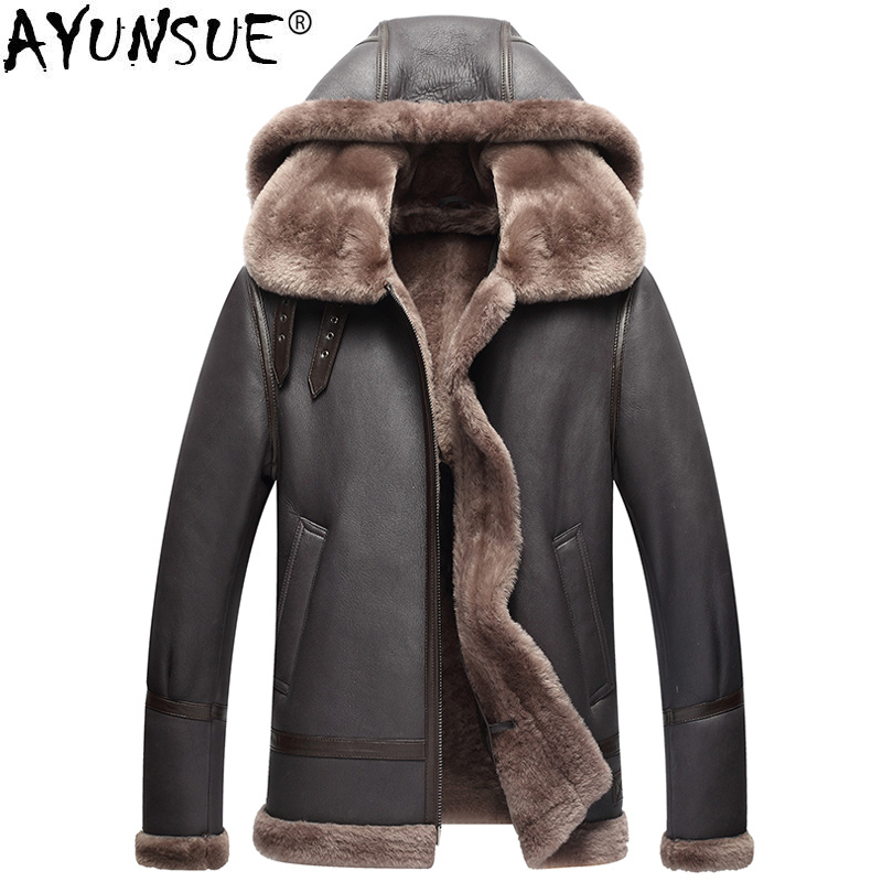 AYUNSUE chaqueta de cuero genuino hombres invierno australiano piel de oveja Real abrigo para hombres piel de cordero vuelo chaquetas de hombre KJ853