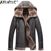AYUNSUE chaqueta de cuero genuino para hombre, abrigo de pelo auténtico de oveja Natural australiano para invierno, chaquetas de vuelo de piel de cordero para hombre KJ853