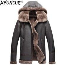 Ayunsue jaqueta de couro genuíno dos homens do inverno australiano pele natural real casaco de pele carneiro para os homens cordeiro flight jaquetas kj853