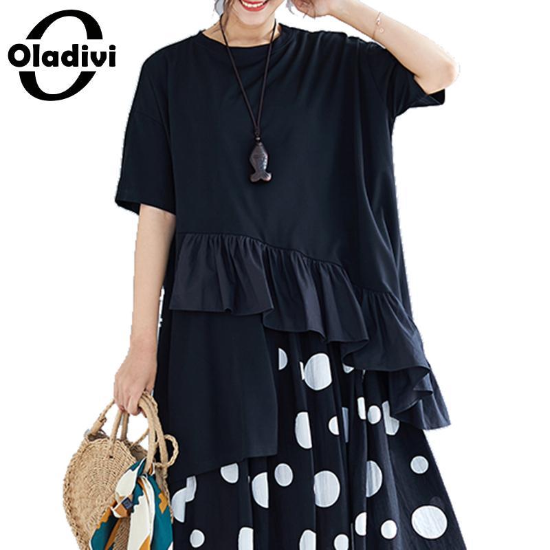 22a1c60ffdd1 Oladivi más el tamaño de las mujeres de moda de retazos Top camiseta señora  Casual suelta verano nuevas Blusas de volantes Blusas femeninas Blusas ...