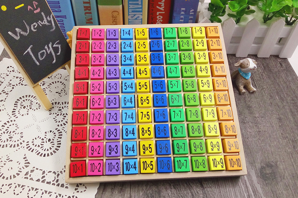 Wooden blocks multiplication table Montessori educational toys children multiplication mouth digital practice calculation board