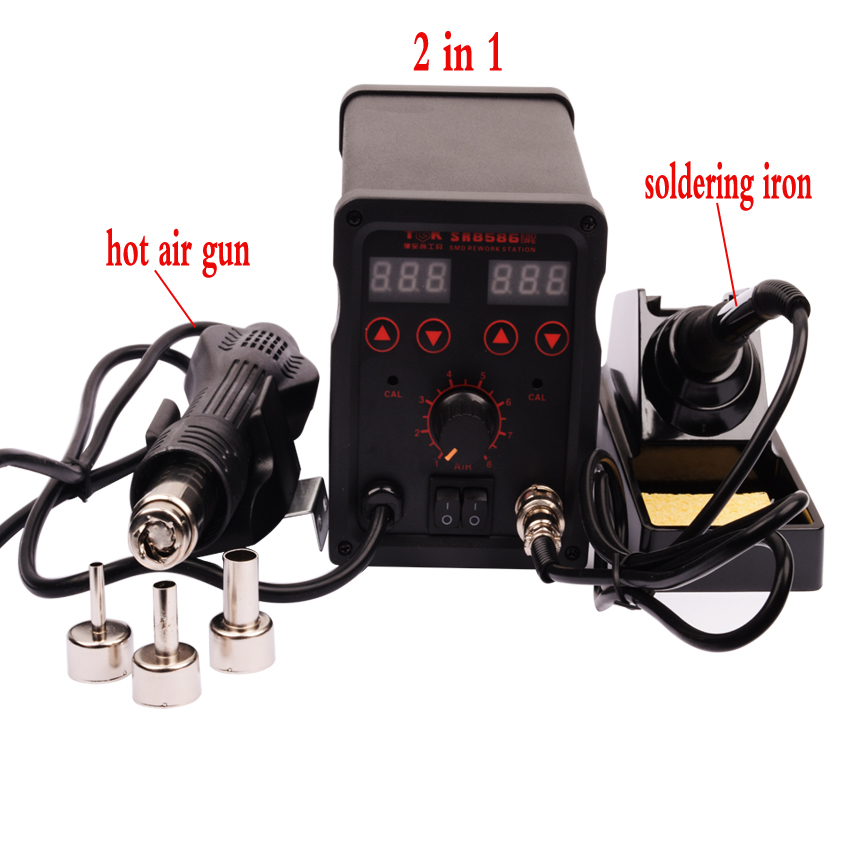 220V 2in1  Rework Station and Soldering CE CCC ROHS Quality certification SR8586  Station Hot Air Gun + Electric Solder Iro