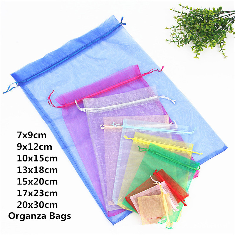 10pcs 15x20 17x23 20x30 Organza Bags Packaging Pouches Christmas Jewelry Bag Wedding Decoration Birthday Party Supplies Gift Bag